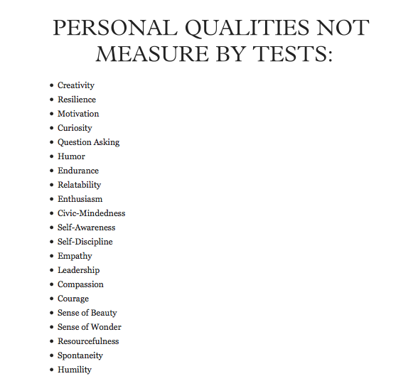 qualities not measured by tests     everyday life